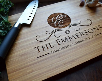 """personalized cutting board engraved bamboo wood """"monogram"""" for, Kitchen design"""