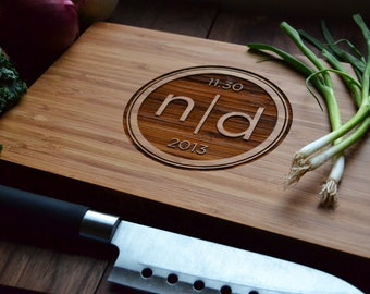 "Personalized Cutting Board Engraved Bamboo Wood ""Modern Intitials"" for Wedding, Anniversary gift"