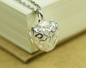 925 Sterling Silver Filigree Heart Charm, Hollow Heart Pendant, 13x12mm, Pkg of 1 pc, C0FQ.SI06.P01