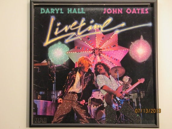 Glittered Record Album - Daryl Hall and John Oates - Live Time