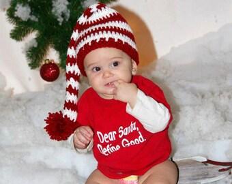 Christmas long tail elf hat. Newborn baby long tail elf hat in red and white. Newborn baby christmas photo prop.