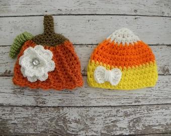 Twin girl Halloween hats. Twin girl pumpkin hat and candy corn hat. Newborn baby Halloween twin photo prop hats.