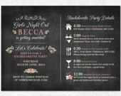 Chalkboard Bachelorette Invitation - Printable - Lingerie Shower, Bachelorette Party, Girls Weekend, Bachelorette Itinerary
