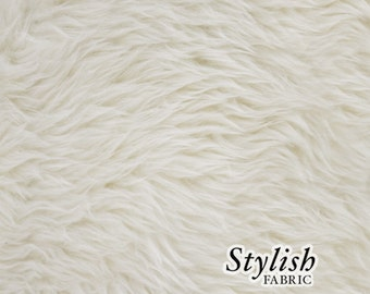 Ivory Pile Luxury Shag Faux Fur Fabric by the yard for costume, throws, home furnishing, photo props - 1 Yard Style 5009