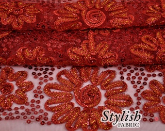 Red Sequins Fabric by the yard Floral Sequins Red Sequin Fabric Elegant Luxury Sequins Lace Fabric - 1 Yard Style 2806