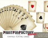 Vintage playing cards clipart INSTANT DOWNLOAD