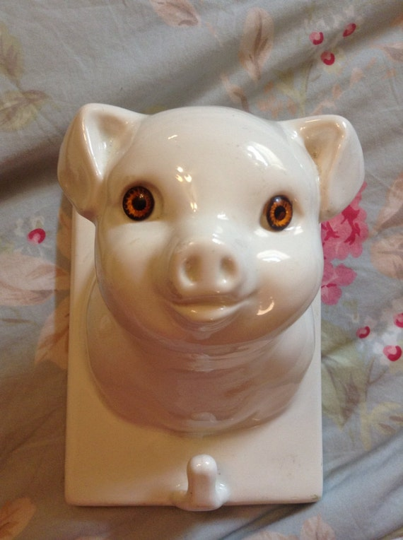 French Country Vintage White Ceramic Pig Head By