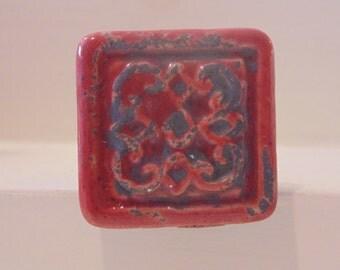 Red Ceramic Knob-Shabby Chic Dresser Drawer Pull