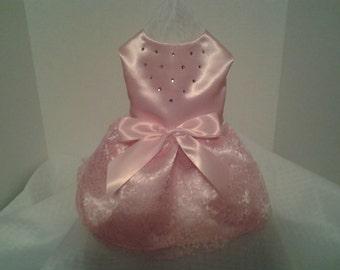 Dog Dress, Dog Clothing, Dog Wedding Dress, Pet Clothing,Pink Satin and Lace