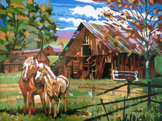 Vintage Painting Horses Colt Homestead Barn Autumn Fall Leaves Ranch Western Pastoral ART