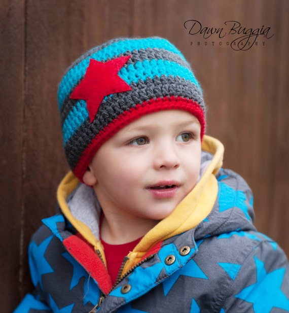 Crocheted striped beanie hat with felt star stitched on made in sizes newborn to child