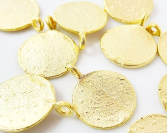 10 Round Coin Charms - 22k Matte Gold Plated