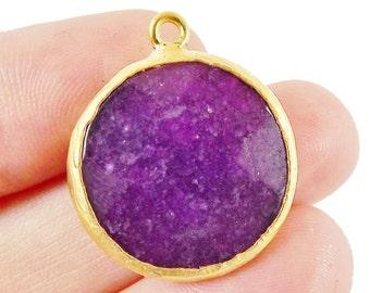 22mm Deep Purple Faceted Jade Pendant - 22k Gold plated Bezel - 1pc -
