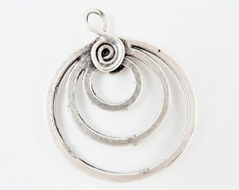 Spiral Triple Loop Pendant Connector - Matte Silver Plated - 1PC