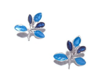 blue twig earrings for women floral silver studs enamel jewelry nature inspired statement artisan jewelry statement