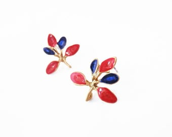 gold twig earrings for women red branch studs cobalt blue gold earrings nature inspired statement enamel jewelry