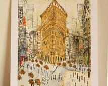 FLATIRON BUILDING Print, New York Art, NYC Watercolor Painting, New York Wall Art, Manhattan Home Decor, City Architecture, Clare Caulfield