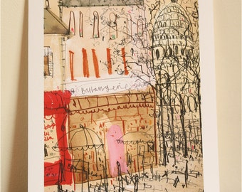 MONTMARTRE PARIS ART, Signed Giclee Print from Parisian Watercolor Painting by Clare Caulfield, French Wall Art, Sacre Coeur, Paris Drawing