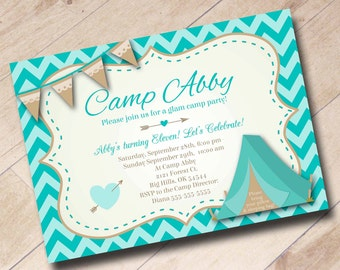 Glamping Girl Camping Birthday Invitation