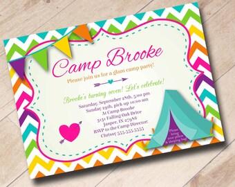Glamping Girl Camping Birthday Invitation - Rainbow