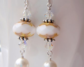 SALE! Sterling Silver Glittering White Dangle Earrings with Czech Glass beads and Swarovski Crystals