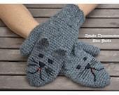 Dark Grey Cat Mittens, Crochet Mittens, Cat gloves , animal Mittens , Mittens made to order