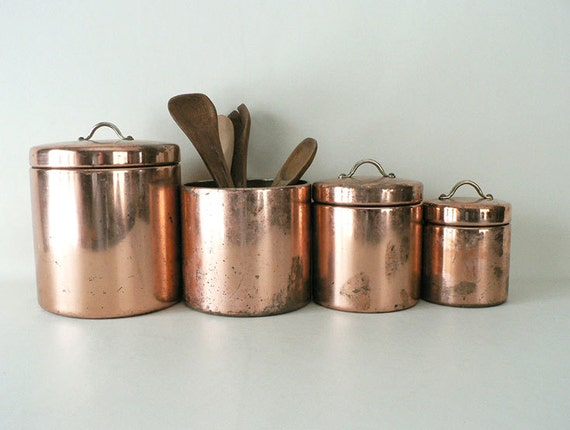 vintage copper metal kitchen canister set by longsince on etsy vintage decoware tin metal kitchen canister set with waste