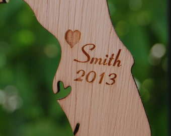 Personalized State Ornament Engraved Wood State Custom Holiday Gift Exchange Custom Last Name Christmas