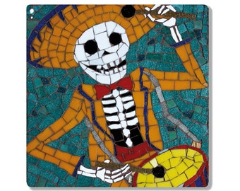 Mexican Day of the Dead - Ceramic Tile / Coaster -  Skeleton Playing the drums - Drummer