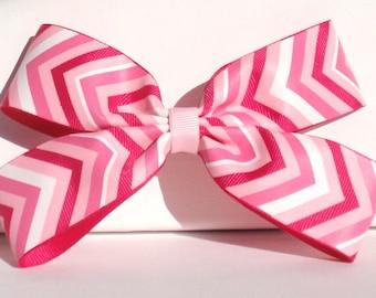 Hair bow barrette, pink chevron
