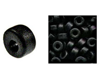 100 Mykonos Mini Tubes, 6mm X 4mm Black Greek Ceramic Spacer Beads  (CT1#01)