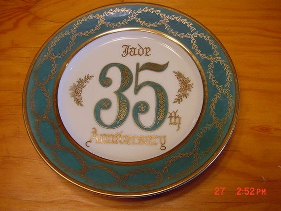 Wedding Anniversary 35 Years Gifts: Vintage Plate 35th Wedding Anniversary Jade With Gold Gift