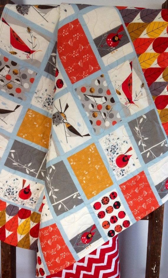 Baby Quilt Organic Cardinal Patch Gender Neutral Modern