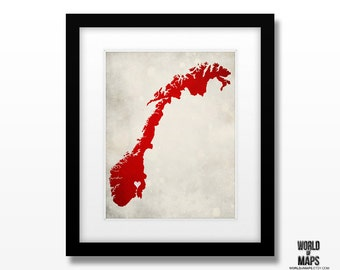 Norway Map Print - Home Town Love - Personalized Art Print Available in Different Sizes & Colors