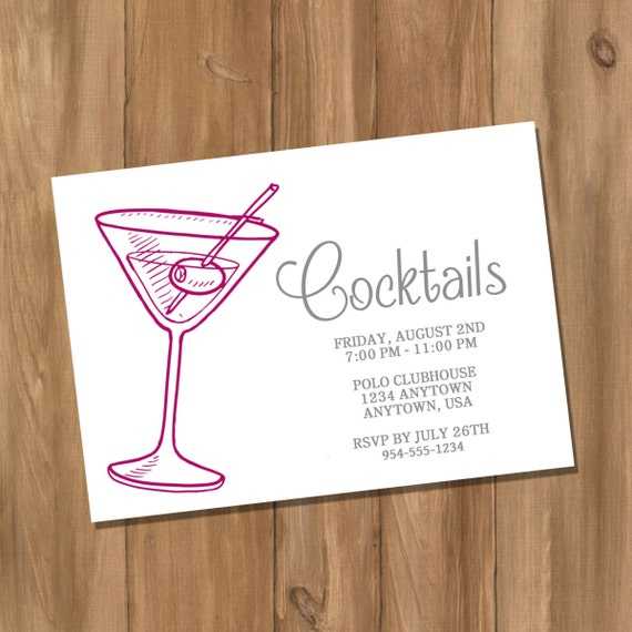 items similar to customized cocktail party invitation - adult
