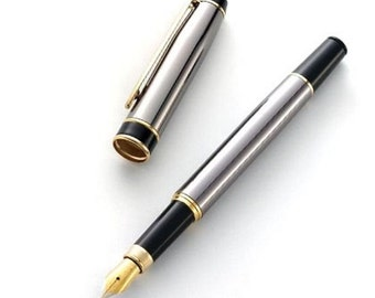 Personalized Gunmetal Brass Fountain Pen - Free Engraving
