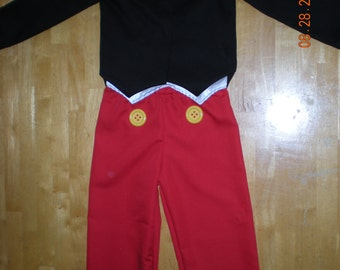 Mickey Mouse inspired costume 3 pieces shirt, shorts and pants (Sizes of 6 months to 5T)