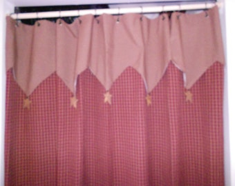 Shower Curtain Red with Valence and Rustic Stars  Primitive 72 x 72