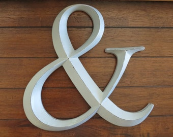 Ampersand/ Wedding Sign/ AND Symbol Sign/ Wall Letter/ Wedding Photo Booth Prop/Light Grey or Pick Your Color/ Initials/Large Wall Letter