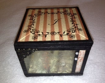personalized stained glass memory box cottage chic shabby chic glass gift