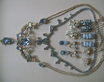 Sparkling Blue Ice Rhinestone Crystal AB Aurora Borealis Lot of Necklaces and Screw Back Clip Earrings Signed CORO Avon & Unsigned Treasure