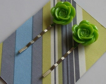 Kiwi Flower Hair Clips
