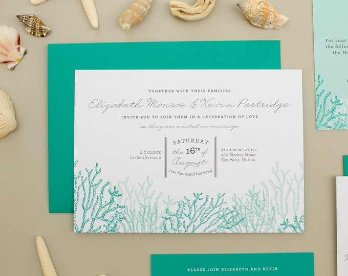 Beach Wedding Invitation, Coral Reef Invitation, Custom Beach Invites, Destination Wedding Invite | DEPOSIT | Reef