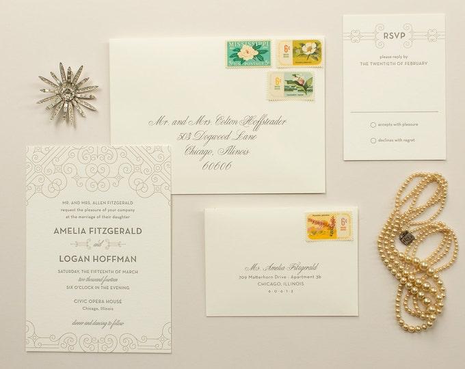 Art Deco Weddings, Gold Letterpress Invitation, 1920s Wedding Invite In Letter Press | DEPOSIT | Posh