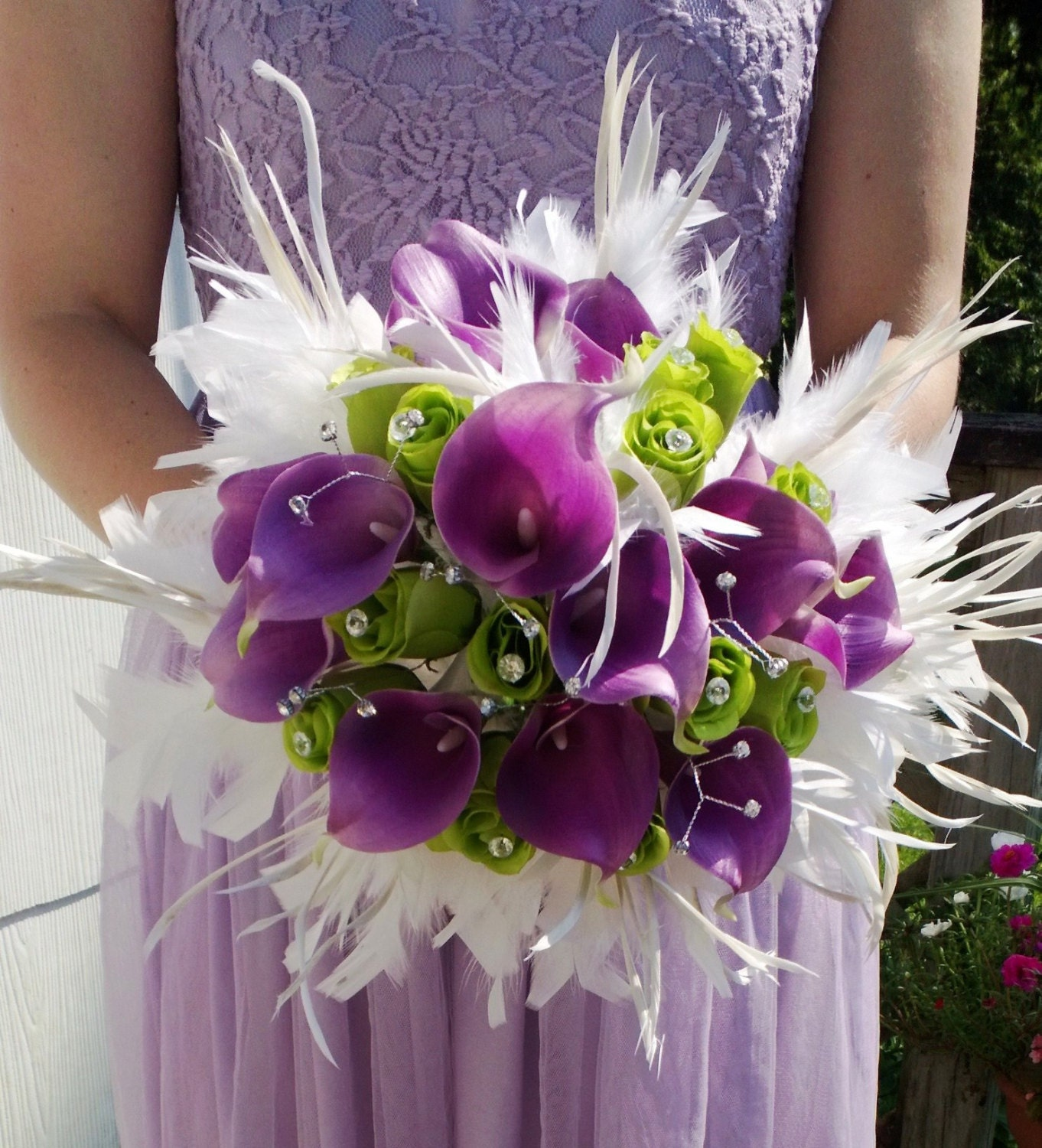 Diy Feather Bouquets Weddings: Real Touch Lavender Calla Lily White Feather Wedding Bouquet