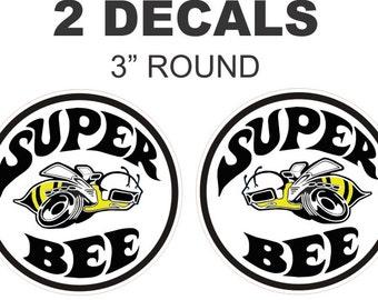 2 Vintage Style Dodge Mopar Plymouth Chrysler Hemi Super Bee Decals