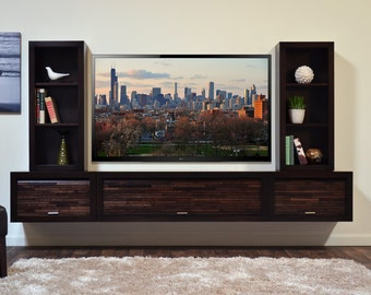 modern wall mounted floating tv stand console eco geo 5 piece espresso