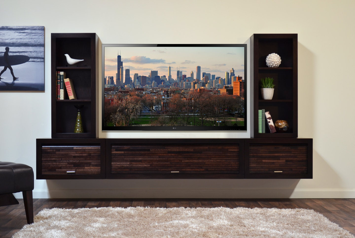 modern wall mounted floating tv stand entertainment console. Black Bedroom Furniture Sets. Home Design Ideas
