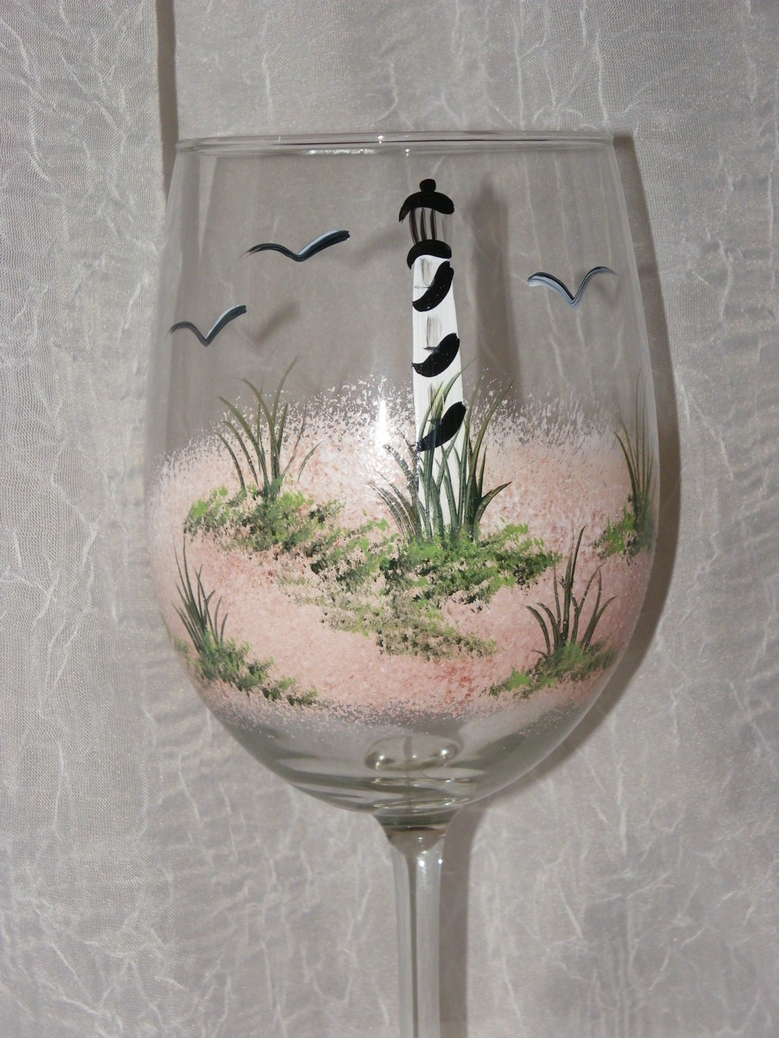 Lighthouse hand painted wine glasses for Hand designed wine glasses