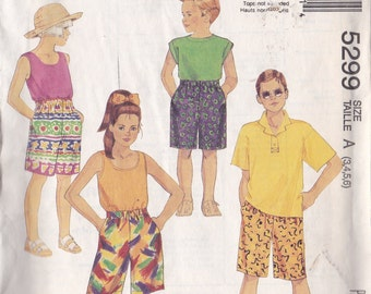 McCalls 5299 Vintage Pattern Boys or Girls Board Shorts Size 3,4,5,6  UNCUT